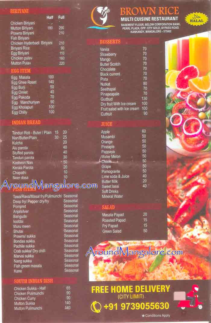 Food-Menu-Brown Rice - Multi Cuisine Restaurant - Kankanady, Mangalore