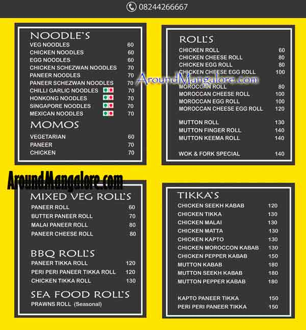 Food Menu Wok Fork Ballalbagh MG Road Mangalore - Wok & Fork - MG Road