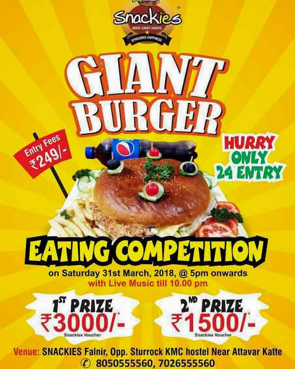 Giant Burger Eating Competition - 31 Mar 2018 - Snackies, Mangalore