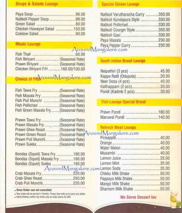 Food Menu - Fish Lounge Restaurant - Falnir, Mangalore
