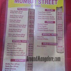 Food Menu - Mumbai Street - Alake, Mangalore