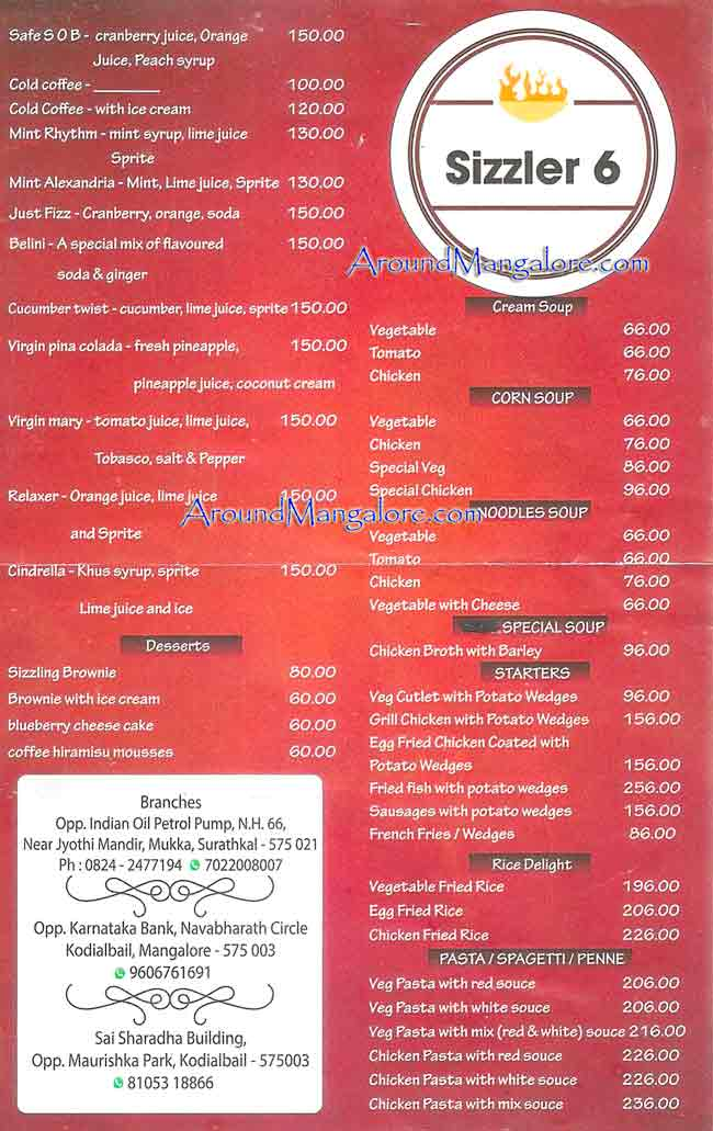 Food Menu - Red Rock's - BournBon Bakery & Cafe - Sizzer 6 - Kodailbail, Mangalore