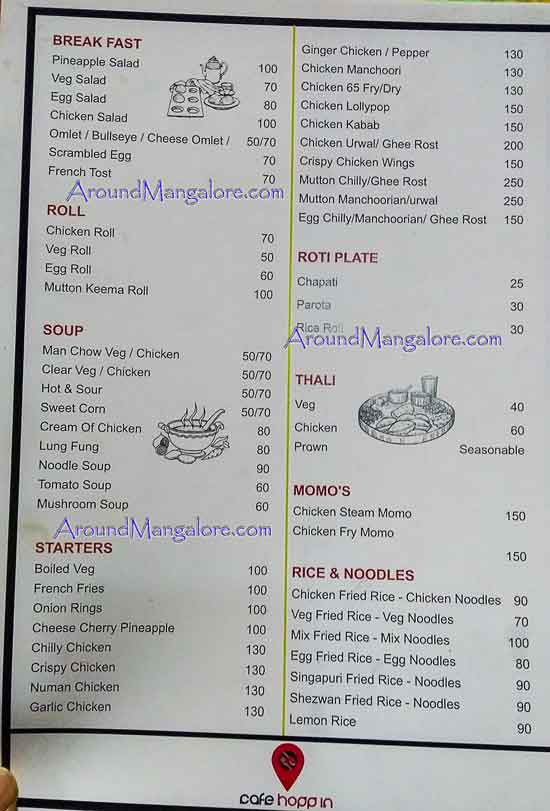 Food Menu - Cafe Hoppin - Adyar, Mangalore