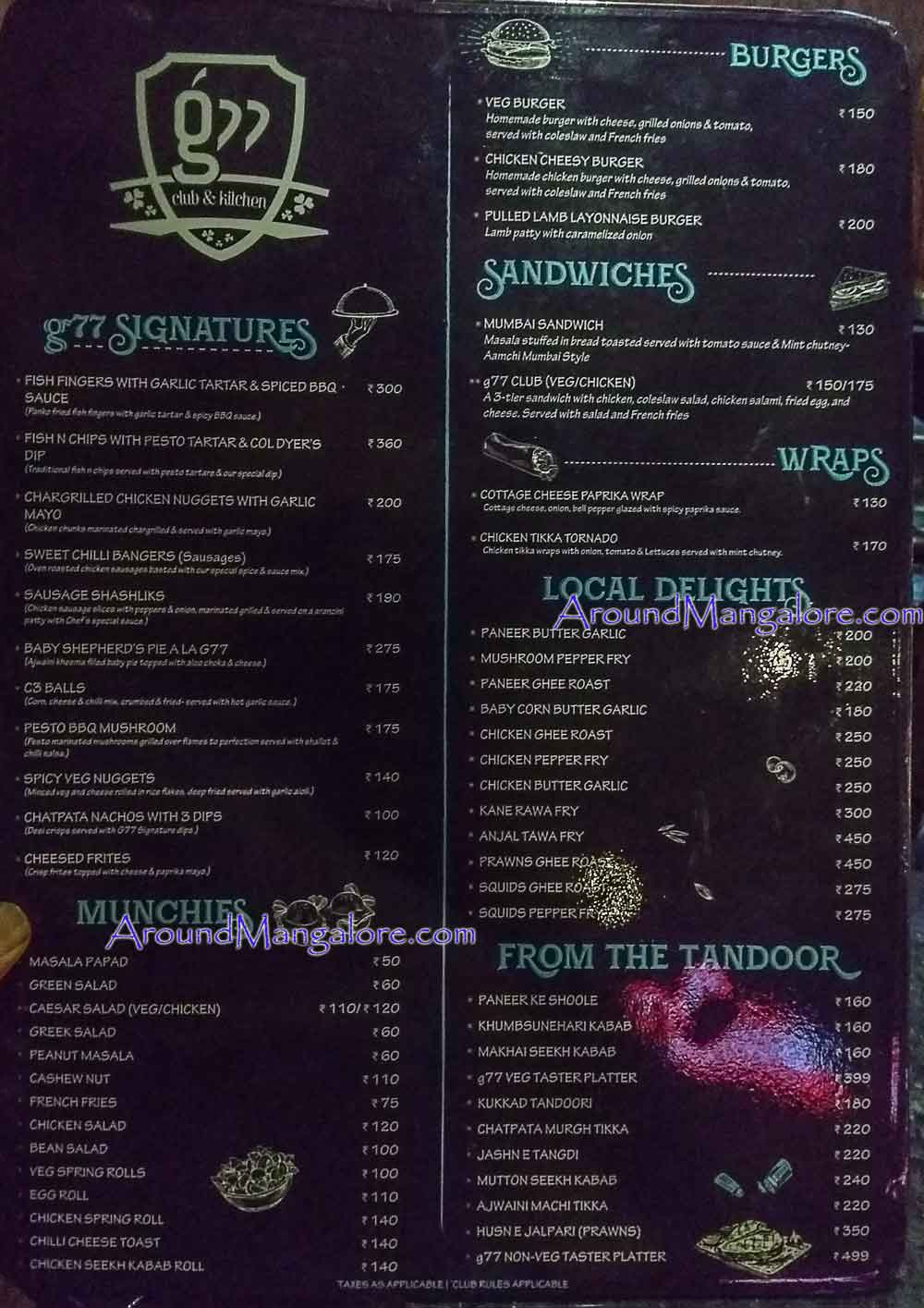 Food Menu - G77 - Lounge - Goldfinch Hotel, Mangalore