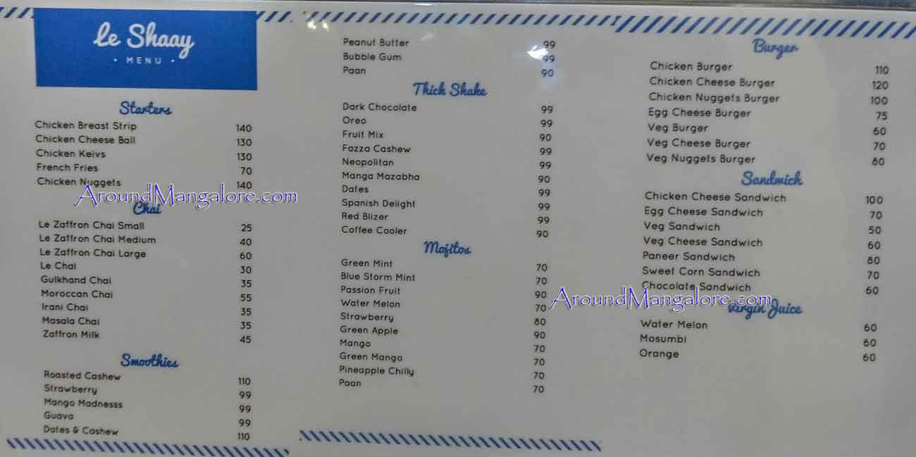 Food Menu - Le Shaay Cafe - MG Road, Kodialbail, Mangalore