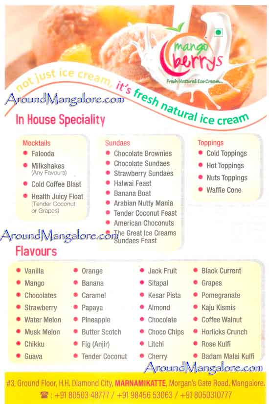Ice Cream Menu - Mango Berrys - Natural Ice Cream - Marnamikatte, Mangalore