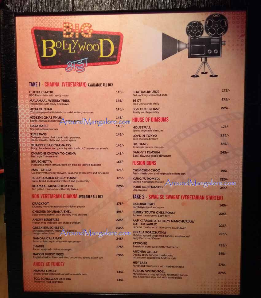Food Menu - Big Bollywood Adda - Hotel Prestige, Balmatta Junction, Mangalore