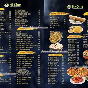 Food Menu - Hi-Dine Family Restaurant - Attavar, Mangalore