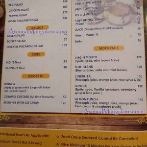 Food Menu - La Goa - Shivbagh Road, Mallikatte, Mangalore