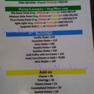 Food Menu - Cibo's Cafe - Kottara, Mangalore