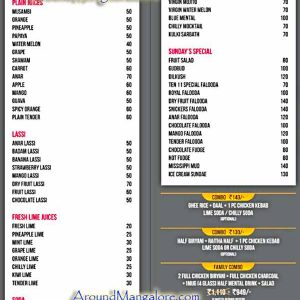 Food Menu - Ten-11 - Bunts Hostel Road, Mangalore