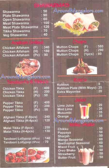 Food Menu - Tikka Street - Pandeshwar, Mangalore