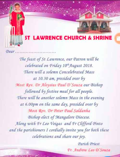St Lawrence Annual Feast - 10 Aug 2018 - Bondel, Mangalore