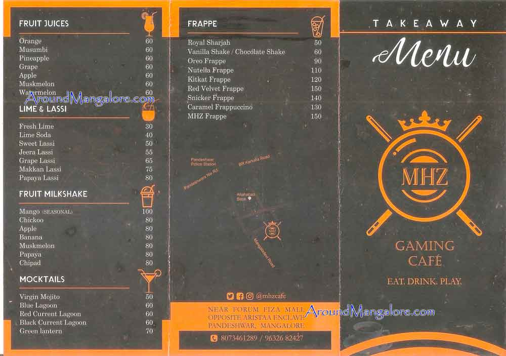 Food Menu - MHZ - Gaming Cafe - Pandeshwar, Mangalore
