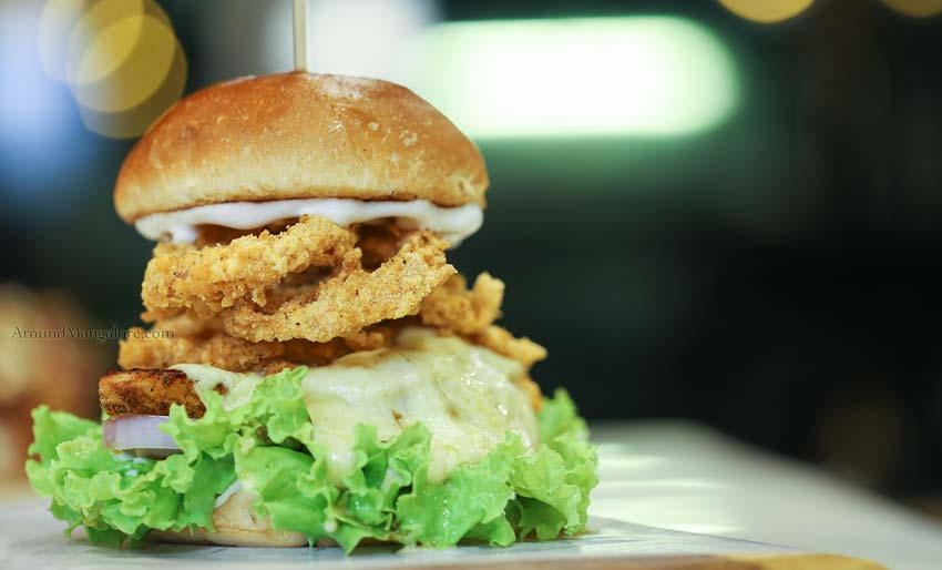 Melted Mozzarella Chicken Burger - Grub Monkeys Cafe, Deralakatte, Mangalore