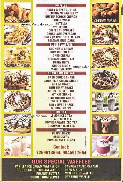 Food Menu - Belgian Waffle Waves - Divya Enclave, M G Road, Mangalore