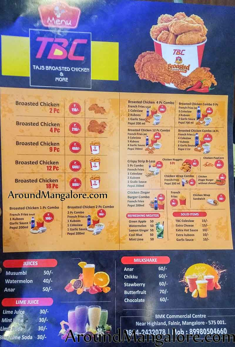Food Menu TBC Tajs Broasted Chicken Falnir Mangalore - TBC - Tajs Broasted Chicken - Falnir