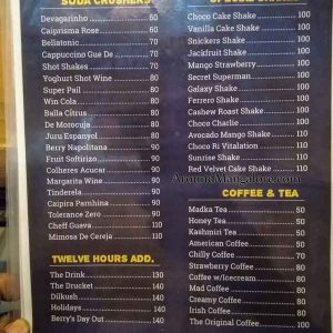 Food Menu - Twelve Hours Cafe - Derlakatte, Mangalore