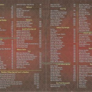 Food Menu - Bamboo Village - Kodialbail, Mangalore