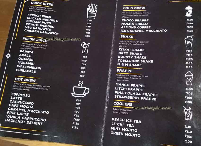 Food Menu - The Kaffeine Hub - Derebail, Mangalore