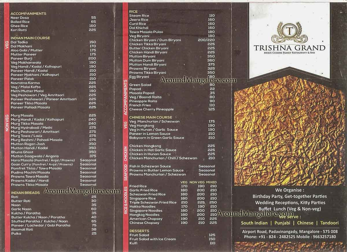 Food Menu - Trishna Grand - Trishna Hotels - Padavinangady, Mangalore