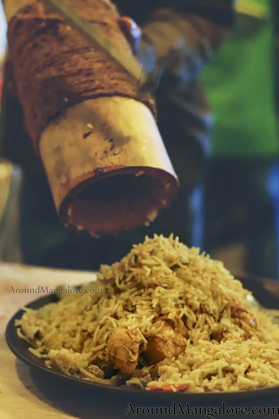 Bamboo Chicken Biryani (Maqloobi) - Green Bamboo Restaurant - Falnir, Mangalore