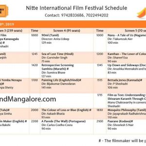 Movie Schedule - NIFF – NITTE International Film Festival – 8 to 11 Apr 2019