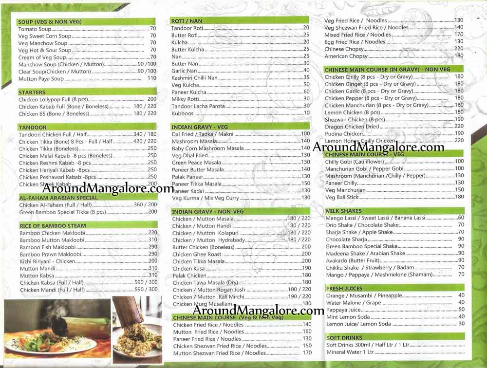 Food Menu - Green Bamboo Restaurant - Falnir, Mangalore