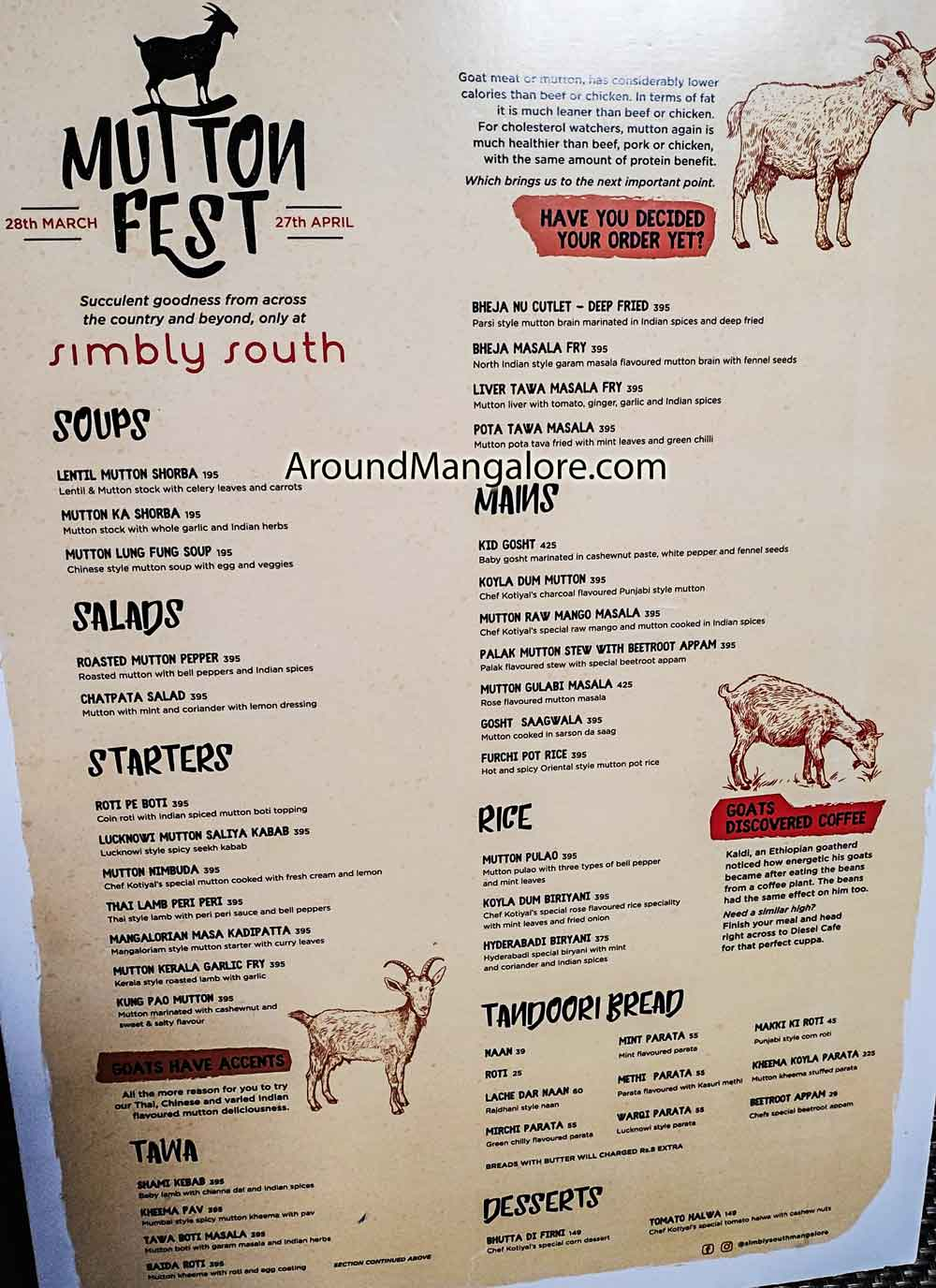 Food Menu - - Mutton Fest - 28 Mar to 27 Apr 2019 - Simbly South, Mangalore
