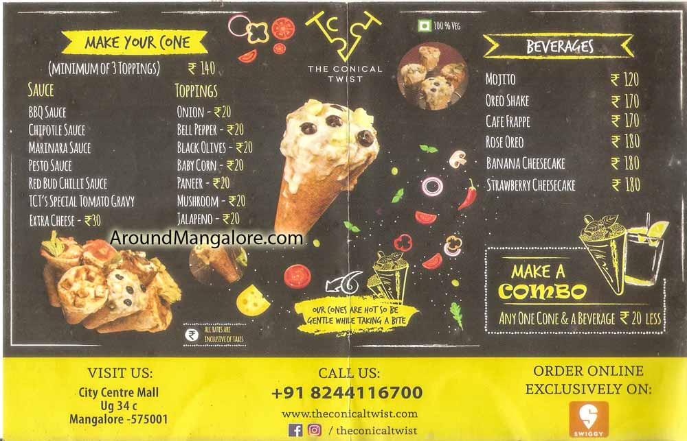Food Menu - The Conical Twist - City Centre Mall, Mangalore
