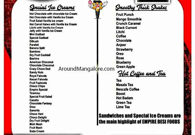 Food Menu - Empire Desi Foods - Ice Cream Parlour & Cafe - Yeyyadi Junction, Mangalore