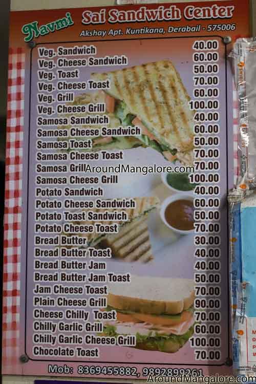 Food Menu Navami Sai Sandwich Center Kuntikana Derabail Mangalore - Navami Sai Sandwich Center - Kuntikana, Derabail
