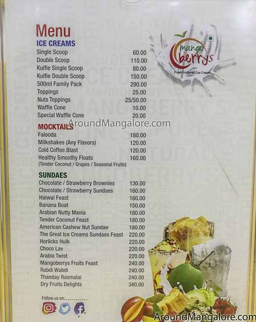 Ice Cream Menu - Ice Cream Menu - Mango Berrys - Fresh Natural Ice Cream