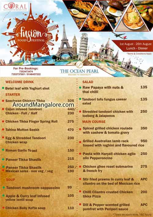 Food Menu - Fusion Food Festival - 01 to 26th Aug 2019 - Ocean Pearl, Mangalore