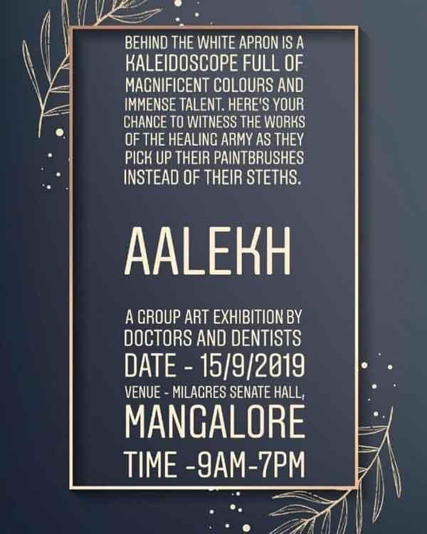 AALEKH - Doctors Art Exhibition - 15 Sep 2019 - Milagres Senate Hall - Hampankatta, Mangalore