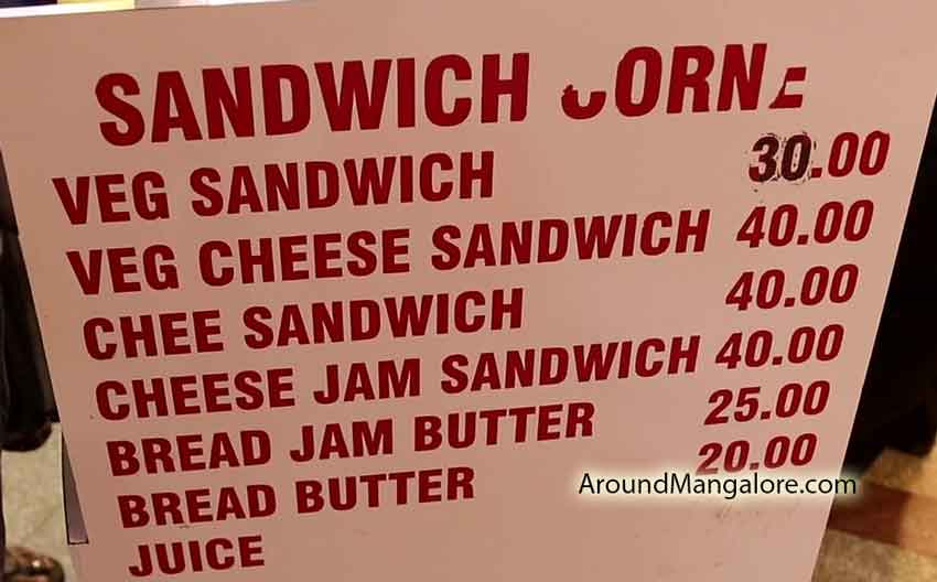 Food Menu - Food Menu - Bombay Sandwich by Mr. Sridhar - Saibeen Complex, Lalbagh, Mangalore