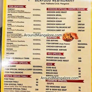 Food Menu - Fish Land Seafood Restaurant - Kadri, Mangalore