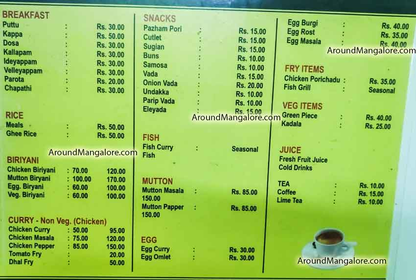 Food menu - Mallu Vibes Cafe - Kankanady, Mangalore