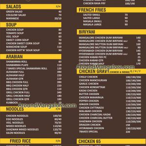 Food Menu - 7 Bakes and Restaurant - Hampankatta, Mangalore