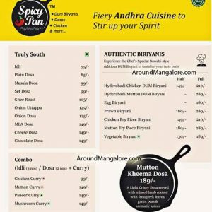 Food Menu - Spicy Pan - Andhra Cuisine - Restaurant - The Forum Fiza Mall, Pandeshwar, Mangalore