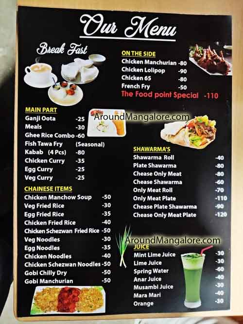 Food Menu The Food Point Pumpwell Kankanady Mangalore - The Food Point - Pumpwell Naguri
