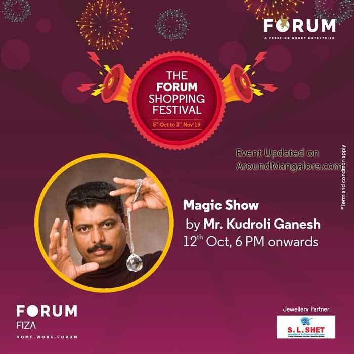 Magic Show by Mr. Kudroli Ganesh - 12 Oct 2019 at 6PM - The Forum Fiza Mall, Mangalore