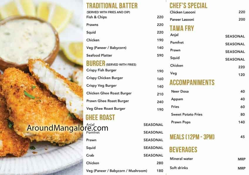 Food Menu - Mangalore Fish and Chips - Balmatta, Mangalore