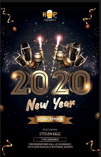 2020 New Year - Hop Pub, Mudipu, Mangalore - New Year Party 2020