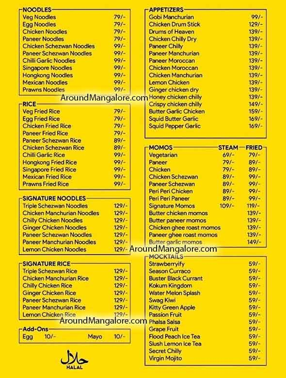 Food Menu - Wok & Fork, Attavar, Mangalore