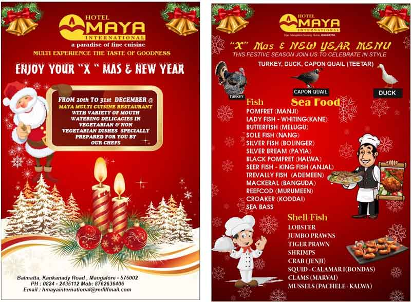 New Year Menu - Maya International, Mangalore - New Yeay 2020