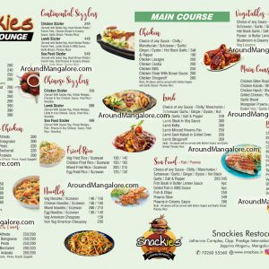Food Menu - Snackies Restocafe - Express Lounge - Jeppina Mogaru, Mangalore