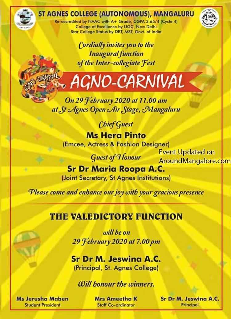 Agno-Carnival - 29 Feb 2020 - St Agnes Open Air Stage, St Agnes College, Mangalore