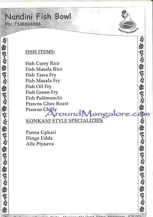 Food Menu Nandini Fish Bowl Barke Mangalore P1 - Nandini Fish Bowl - Barke