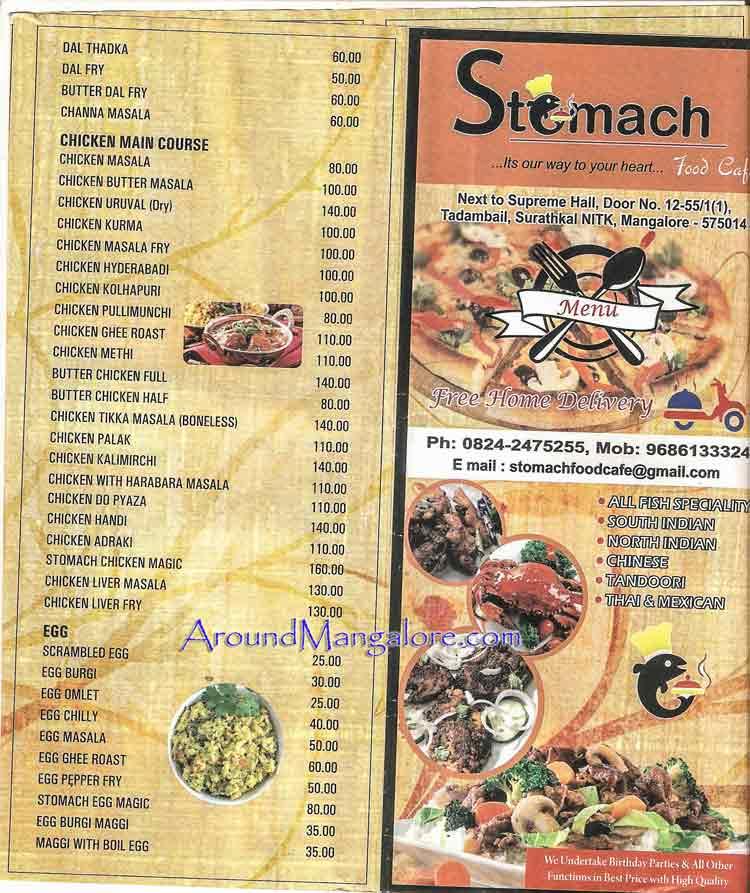 Food Menu Stomach Food Cafe Surathkal NITK Mangalore P2 - Stomach Food Cafe - Surathkal